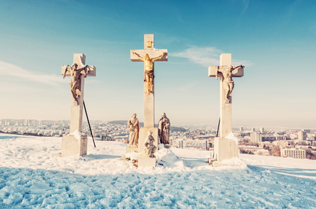 Calvary in Nitra city, Slovak republic. Religious place. Winter scene. Cultural heritage. Travel destination. Snow and sunny. Beauty photo filter.