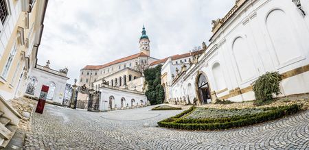 Panoramic photo of Mikulov castle, southern Moravia, Czech republic. Travel destination. Architectural scene.