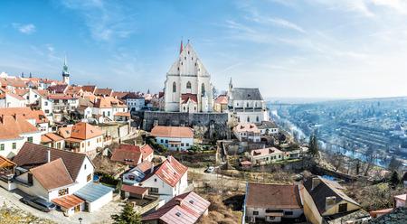 St. Nicholas Deanery church, Znojmo, southern Moravia, Czech republic. Religious architecture. Travel destination. Panoramic photo.