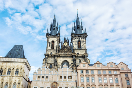 Church of Our Lady before Tyn in Old town square, Prague, Czech republic. Architectural scene. Travel destination.