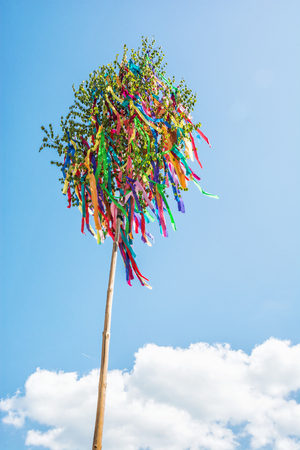 Looking up at may pole. Symbolic object.
