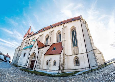 St. Nicholas' Deanery church, Znojmo, southern Moravia, Czech republic. Religious architecture. Travel destination. Fish eye photo. 版權商用圖片