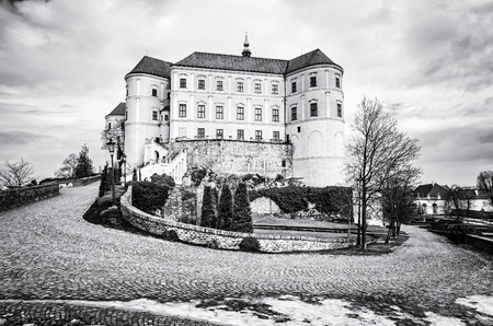 Mikulov castle, southern Moravia, Czech republic. Travel destination. Architectural scene. Black and white photo. Editorial