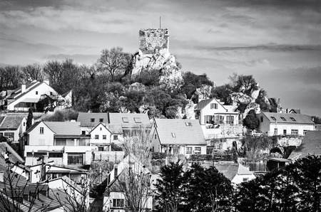 Kozi hradek, Mikulov, Czech republic. Ancient architecture. Travel destination. Black and white photo.