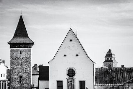 Church of St. John the Baptist, Znojmo, southern Moravia, Czech republic. Religious architecture. Travel destination. Black and white photo.