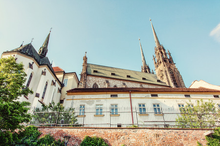Cathedral of St. Peter and Paul, Brno, Moravia, Czech republic. Religious architecture. Travel destination. Beautiful place. Beauty photo filter.