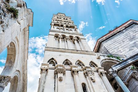 Cathedral of Saint Domnius in Split, Croatia. Religious architecture. Travel destination. Sun rays scene. Stok Fotoğraf