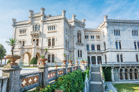 Miramare castle near Trieste, northeastern Italy. Travel destination. Beautiful architecture.