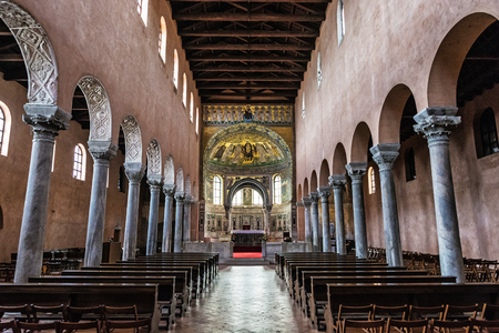 Interior of Euphrasian Basilica in Porec, Istria, Croatia. Religious architecture, Unesco. Travel destination.