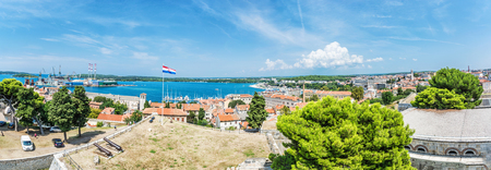 Panoramic photo from Venetian fortress, Pula, Istria, Croatia. Travel destination.