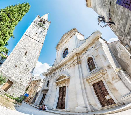 BALE, CROATIA: Holy Spirit Church in Bale, Istria, Croatia. Fisheye photo. Travel destination. Religious architecture. Illustrative editorial.