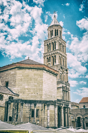 Cathedral of Saint Domnius in Split, Croatia. Religious architecture. Travel destination. Analog photo filter with scratches.
