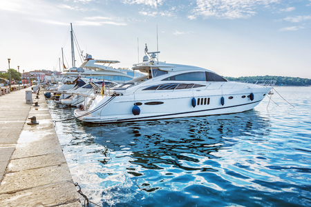Yachts in port, Porec, Croatia. Summer vacation. Travelling theme. Mediterranean Sea.