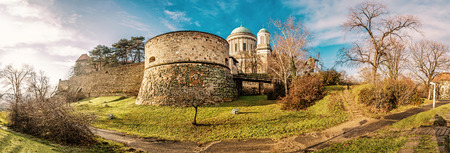 Famous Esztergom basilica, Esztergom, Hungary. Panoramic scene. Travel destination. Yellow photo filter. 写真素材
