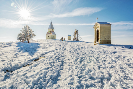 Calvary in Nitra city, Slovak republic. Religious place. Winter scene. Cultural heritage. Travel destination. Snow and sunny.