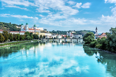 Passau city with Saint Stephen's cathedral, Lower Bavaria, Germany. Travel destination. Cultural heritage. Banco de Imagens