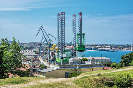 Cargo port in Pula, Istria, Croatia. Travel destination. European industrial scene. Banco de Imagens