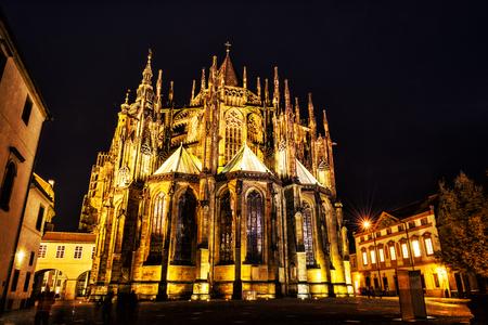 St. Vitus Cathedral in Prague, Czech republic. Night scene. Travel destination. Religious architecture.