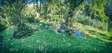 Seasonal photo of city park in Nitra, Slovak republic. Panoramic photo. Natural scene. Analog photo filter with scratches.