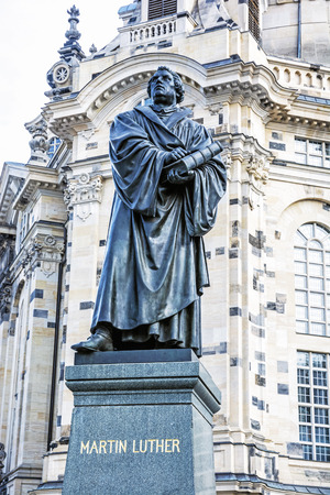 Martin Luther statue before Frauenkirche in Dresden, Germany. Artistic object. Travel destination.
