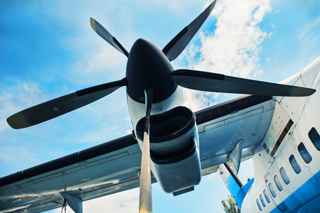 Close up of a engine propeller aircraft. Teal and orange photo filter.