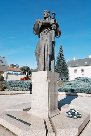 Pribina statue in Nitra, Slovak republic. Teal and orange photo filter.