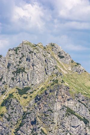 Detail of Big Rozsutec peak, Little Fatra, Slovak republic. Hiking theme. Seasonal natural scene. Фото со стока