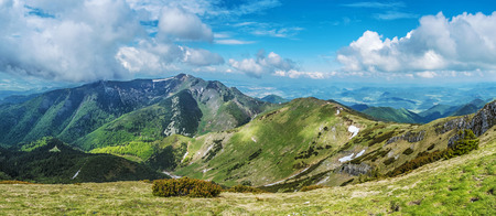 Panoramic view from Big Krivan, Little Fatra, Slovak republic. Hiking theme. Seasonal natural scene.