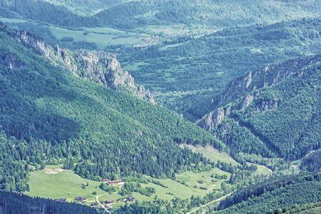 Vratna valley, Little Fatra, Slovak republic. Hiking theme. Seasonal natural scene.