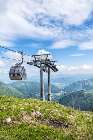 Cable transport, Vratna valley, Little Fatra, Slovak republic. Hiking theme. Seasonal natural scene. Фото со стока
