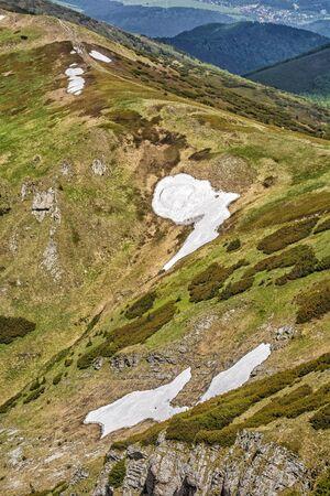 Snow field, Little Fatra, Slovak republic. Hiking theme. Seasonal natural scene.