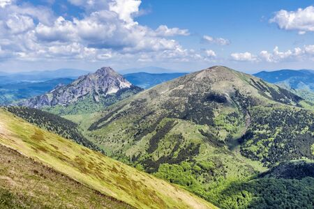 Big Rozsutec peak and Stoh, Little Fatra, Slovak republic. Hiking theme. Seasonal natural scene.