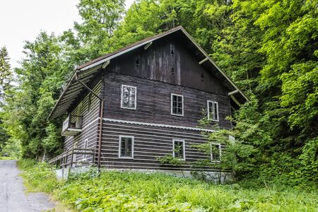 Exterior of abandoned house in Korytnica spa, Slovak republic. Folklore architecture.