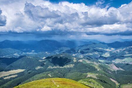 View from Velka Chochula peak, Low Tatras, Slovak republic. Seasonal natural scene. Travel destination. Фото со стока