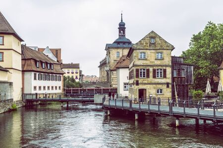 Old town hall of Bamberg, Bavaria, Germany. Travel destination. Architectural theme.