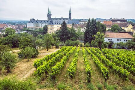 Cathedral and vineyard from Michaelsberg abbey in Bamberg, Bavaria, Germany. Travel destination. Religious architecture.