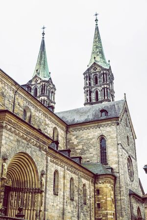 Monumental cathedral in Bamberg, Bavaria, Germany. Travel destination. Religious architecture. Stock Photo