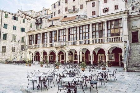 Square in the historic center of Sibenik, Croatia. Travel destination. Architectural theme.