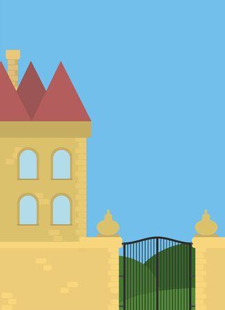 Beautiful small castle illustration. Building illustration.  イラスト・ベクター素材