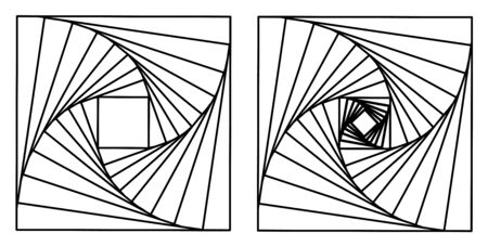 Two beautiful lineart made of squares. Abstract illustration.