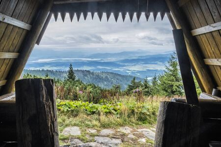View from wooden shelter, Babia hora hill, Orava, Slovak republic. Seasonal natural scene.