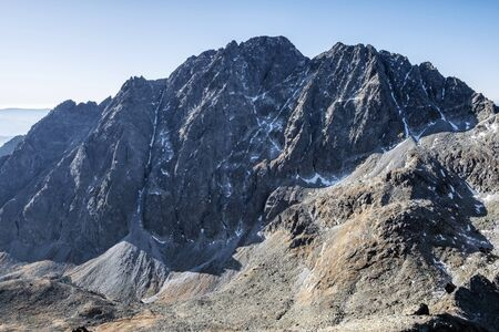 Gerlach peak from Eastern High peak in High Tatras mountains, Slovak republic. Hiking theme. Travel destination.