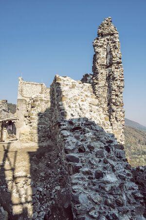 Reviste castle ruins, Slovak republic. Travel destination. Architectural theme.