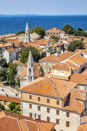 Old town Zadar from bell tower of Cathedral of St. Anastasia, Croatia, Croatia. Travel destination. Religious architecture.