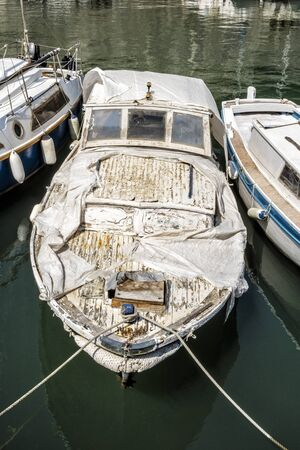 Old boat in harbor, Zadar, Croatia. Travel destination.