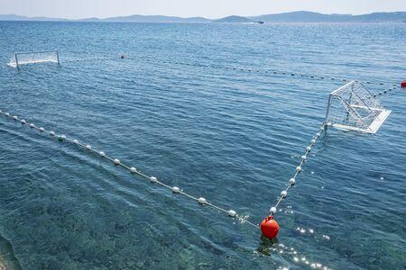 Water polo in sea, Zadar, Croatia. Free time activities. Summer vacation. Stockfoto