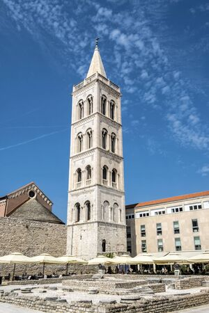 Cathedral of St. Anastasia and Church of St. Donatus, Zadar, Croatia. Travel destination. Religious architecture.
