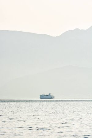 Ferry boat in Adriatic Sea, Croatia. Summer vacation. Travel destination. 版權商用圖片