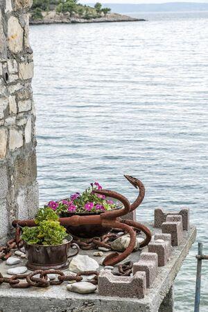 Symbolic anchor, Solta, Croatia. Travel destination.