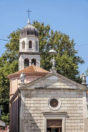 Religious architecture in Zadar, Croatia. Travel destination. Street scene. Stockfoto